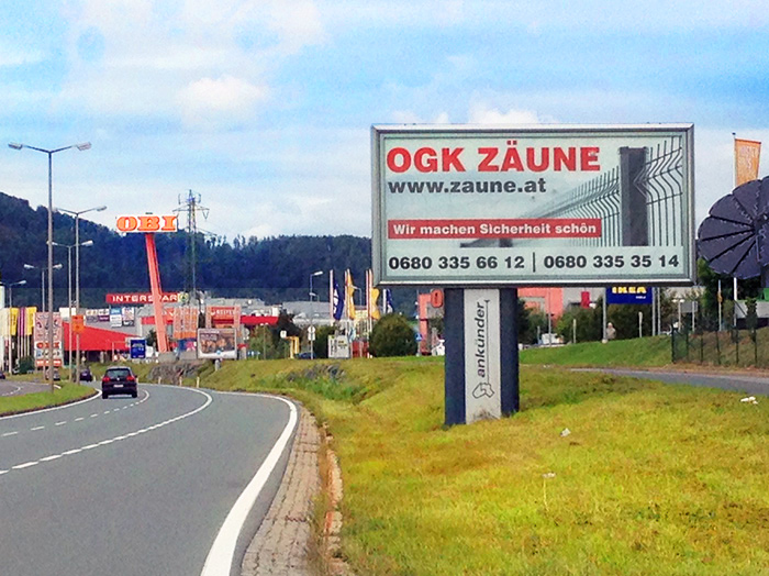 Advertising on lit jumbo posters | Sms Marketing d.o.o. | Advertisement on the Austrian market - Ograje Kocevar