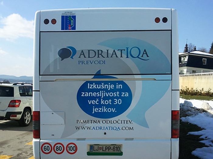 Advertising on busses in Slovenia | Sms Marketing d.o.o. | Advertisement on the back side of the bus - Adriatiqua