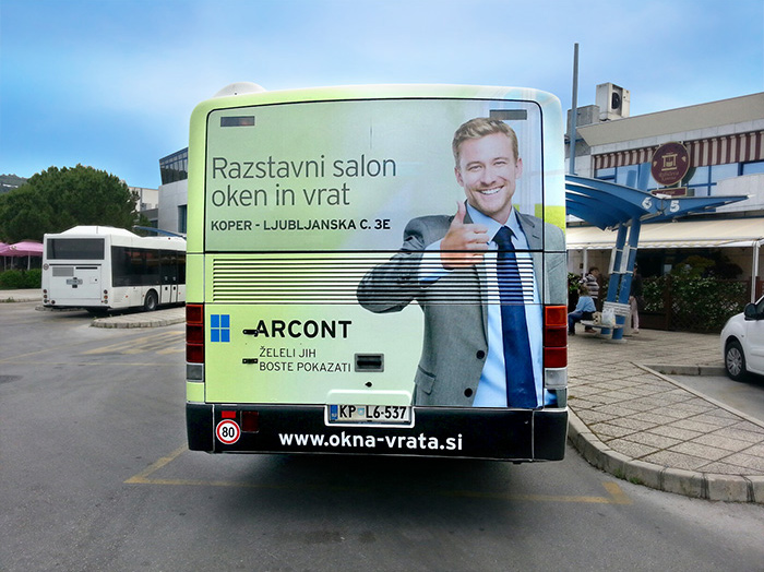 Advertising on busses in Slovenia | Sms Marketing d.o.o. | Advertisement on the back side of the bus - Arcont
