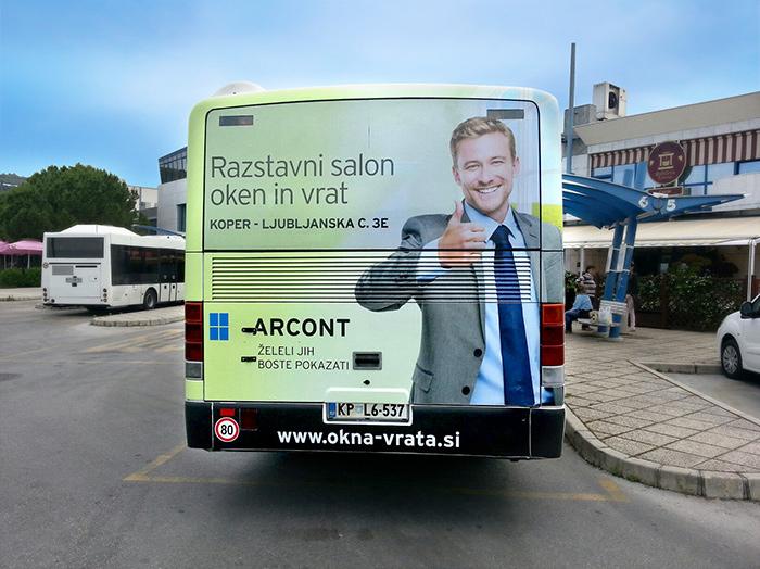Oglaševanje na avtobusih | Sms Marketing d.o.o. | Oglas na zadnjem delu avtobusa - Arcont