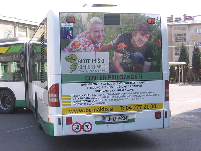 Advertising on busses in Slovenia | Sms Marketing d.o.o. | Advertisement on the back side of the bus - Biotehniski center Naklo