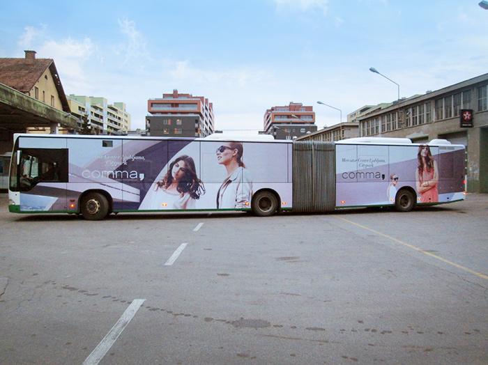 Oglaševanje na avtobusih | Sms Marketing d.o.o. | Oglas na avtobusu - celi avtobus - Comma