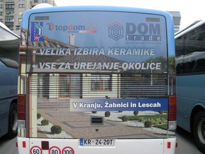 Advertising on busses in Slovenia | Sms Marketing d.o.o. | Advertisement on the back side of the bus - Dom trade