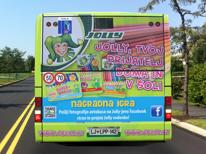 Advertising on busses in Slovenia | Sms Marketing d.o.o. | Advertisement on the back side of the bus - Eurocom
