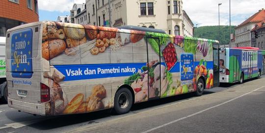 Oglaševanje na avtobusih   Sms Marketing d.o.o.   Oglas na avtobusu - celi avtobus - Euro Spin