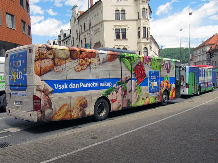 Oglaševanje na avtobusih | Sms Marketing d.o.o. | Oglas na avtobusu - celi avtobus - Euro Spin