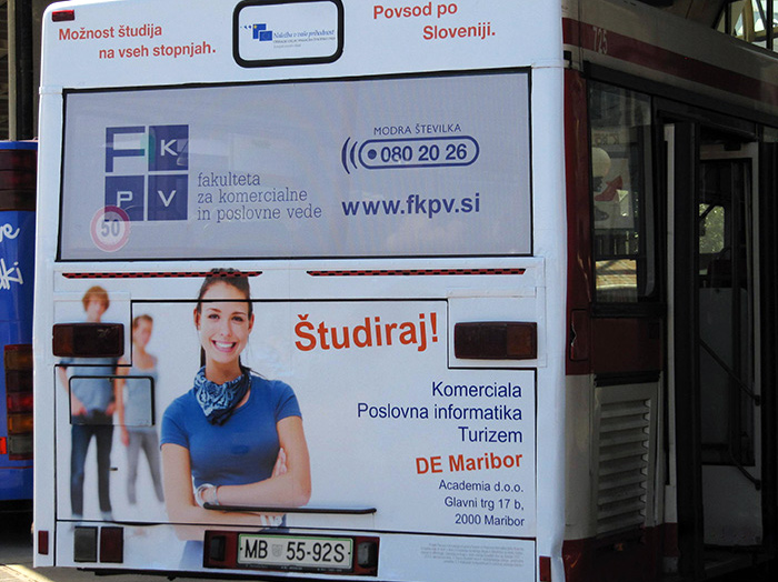 Advertising on busses in Slovenia | Sms Marketing d.o.o. | Advertisement on the back side of the bus - fkpv