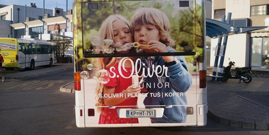 Advertising on busses in Slovenia | Sms Marketing d.o.o. | Advertisement on the back side of the bus - S.Oliver