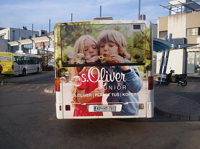 Oglaševanje na avtobusih | Sms Marketing d.o.o. | Oglas na zadnjem delu avtobusa - S.oliver