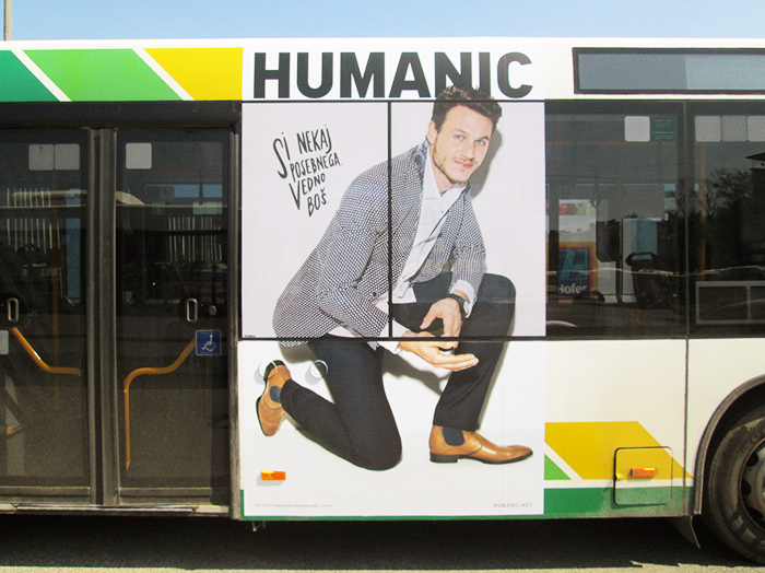 Advertising on buses in Slovenia | Sms Marketing d.o.o. | Advertisement on the right side of the bus - Humanic
