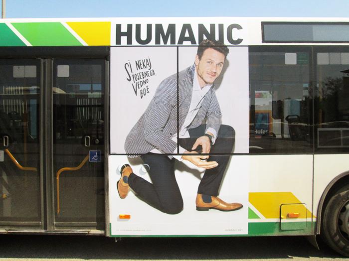 Oglaševanje na avtobusih | Sms Marketing d.o.o. | Oglas na desni strani avtobusa - Humanic