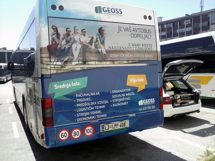 Advertising on busses in Slovenia | Sms Marketing d.o.o. | Advertisement on the back side of the bus - Geoss
