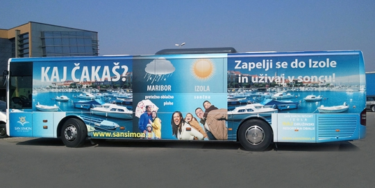 Oglaševanje na avtobusih   Sms Marketing d.o.o.   Oglas na avtobusu - celi avtobus - Izola