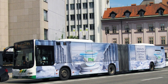Advertising on buses in Slovenia | Sms Marketing d.o.o. | advertisement on a bus - entire bus - Ljubljanske mlekarne