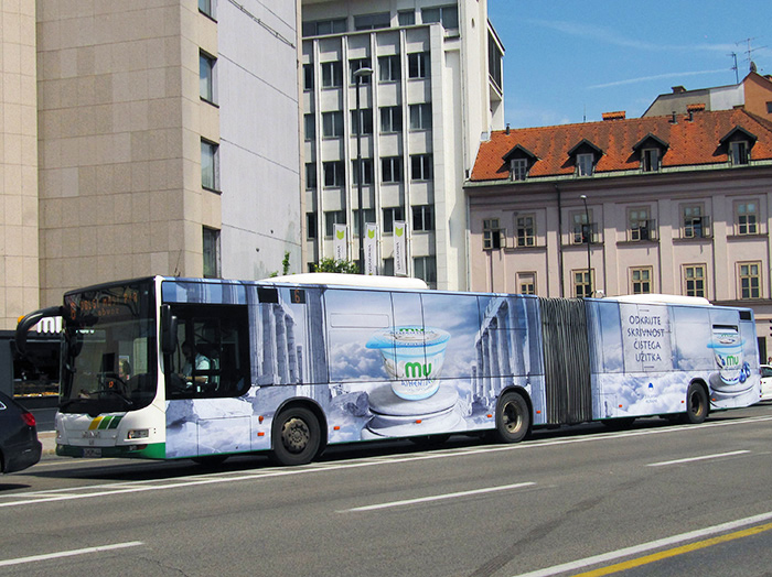 Advertising on buses in Slovenia | Sms Marketing d.o.o. | advertisement on a bus - entire bus - Ljubljanske mlekarne