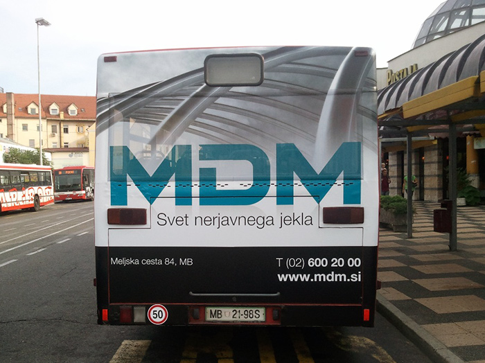Advertising on busses in Slovenia | Sms Marketing d.o.o. | Advertisement on the back side of the bus - MDM