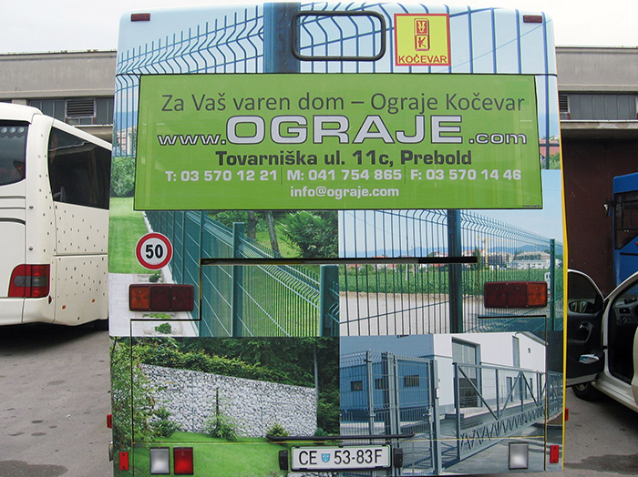 Advertising on busses in Slovenia | Sms Marketing d.o.o. | Advertisement on the back side of the bus - Ograje Kocevar