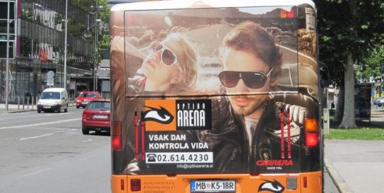 Oglaševanje na avtobusih | Sms Marketing d.o.o. | Oglas na zadnjem delu avtobusa - Optika Arena