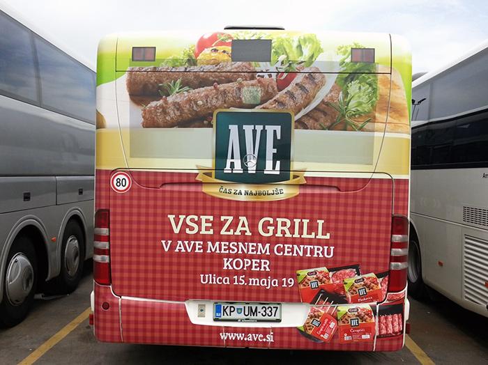 Oglaševanje na avtobusih | Sms Marketing d.o.o. | Oglas na zadnjem delu avtobusa - Ave
