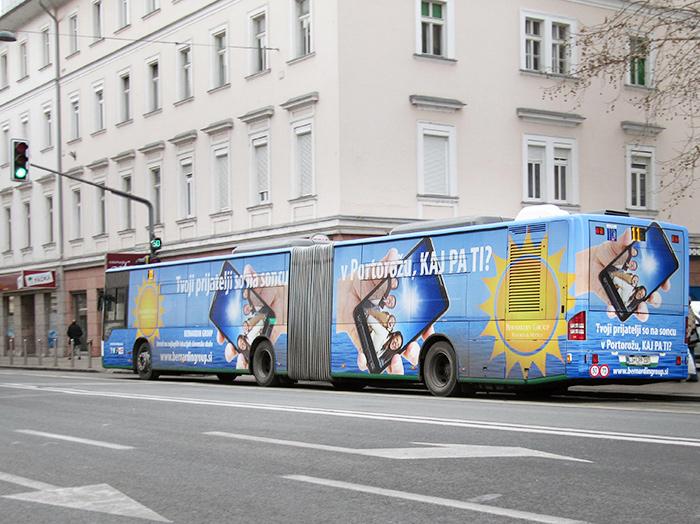 Oglaševanje na avtobusih | Sms Marketing d.o.o. | Oglas na avtobusu - celi avtobus - Izola