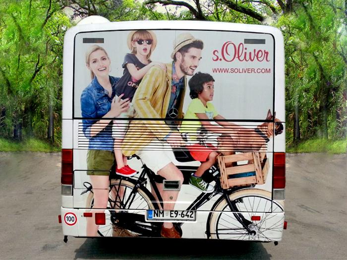 Werbung an Bussen | Sms Marketing d.o.o. | Werbung am hinteren Teil des Busses – S.Oliver