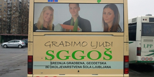 Advertising on busses in Slovenia | Sms Marketing d.o.o. | Advertisement on the back side of the bus - Sggos