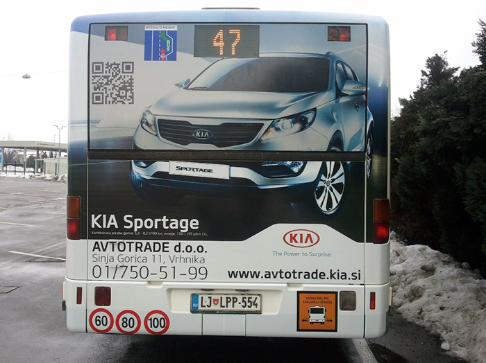 Advertising on busses in Slovenia | Sms Marketing d.o.o. | Advertisement on the back side of the bus - Avtotrade