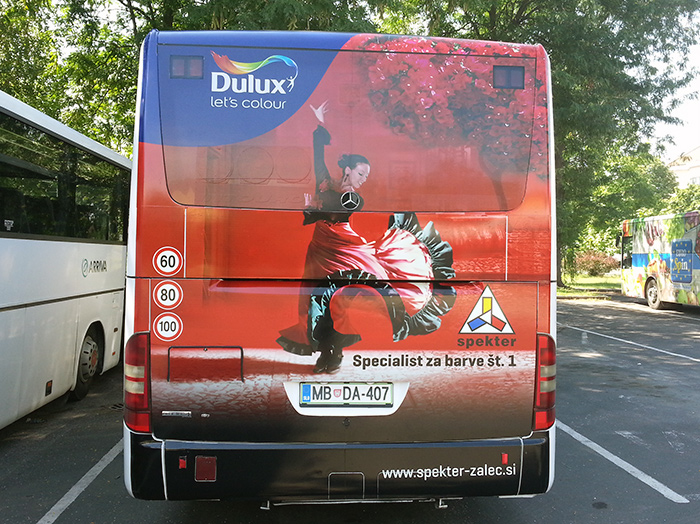 Advertising on busses in Slovenia | Sms Marketing d.o.o. | Advertisement on the back side of the bus - Spekter