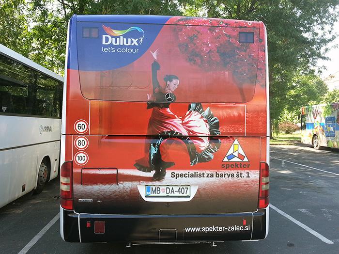 Oglaševanje na avtobusih | Sms Marketing d.o.o. | Oglas na zadnjem delu avtobusa - Spekter