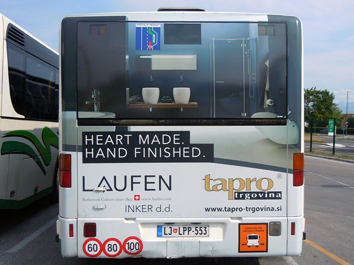 Advertising on busses in Slovenia | Sms Marketing d.o.o. | Advertisement on the back side of the bus - Tapro