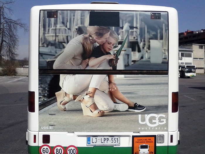 Advertising on busses in Slovenia | Sms Marketing d.o.o. | Advertisement on the back side of the bus - Ugg