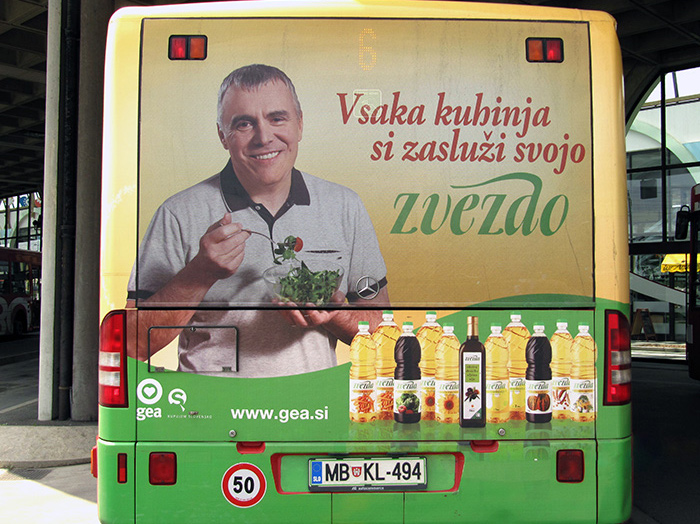 Advertising on busses in Slovenia | Sms Marketing d.o.o. | Advertisement on the back side of the bus - Gea