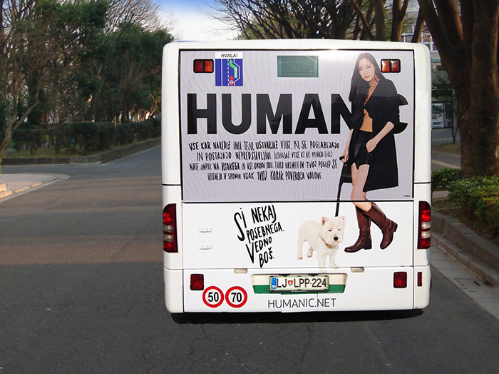Bus Werbung | Sms Marketing d.o.o. | Werbung am hinteren Teil des Busses – Humanic