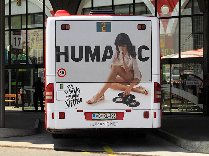 Advertising on busses in Slovenia | Sms Marketing d.o.o. | Advertisement on the back side of the bus - Humanic