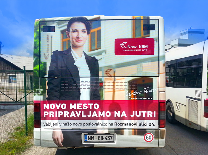 Advertising on busses in Slovenia | Sms Marketing d.o.o. | Advertisement on the back side of the bus - Nova KBM
