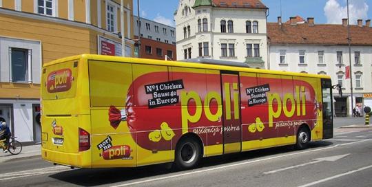 Oglaševanje na avtobusih | Sms Marketing d.o.o. | Oglas na avtobusu - celi avtobus - Perutnina Ptuj