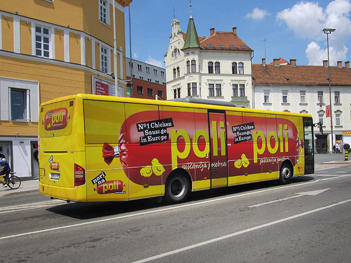Advertising on buses in Slovenia | Sms Marketing d.o.o. | advertisement on a bus - entire bus - Perutnina Ptuj