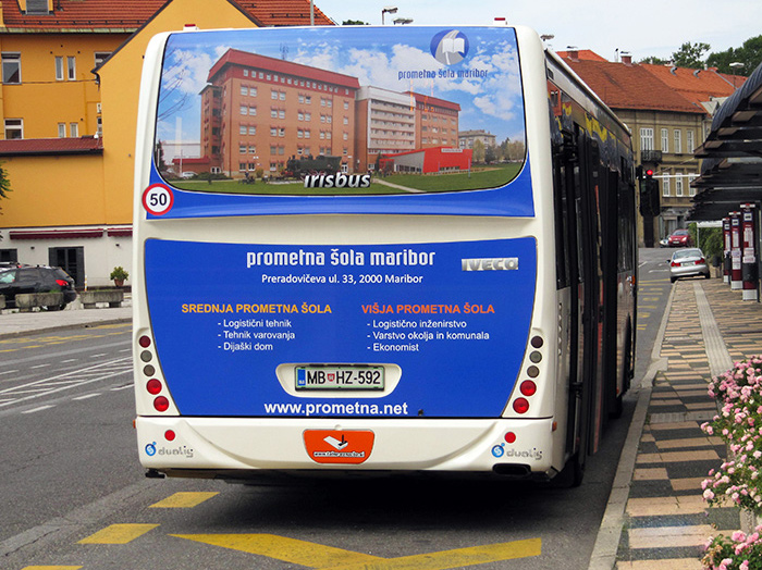 Advertising on busses in Slovenia | Sms Marketing d.o.o. | Advertisement on the back side of the bus - Prometna sola Maribor