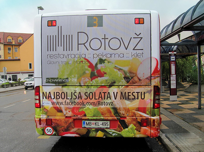 Advertising on busses in Slovenia | Sms Marketing d.o.o. | Advertisement on the back side of the bus - Rotovz
