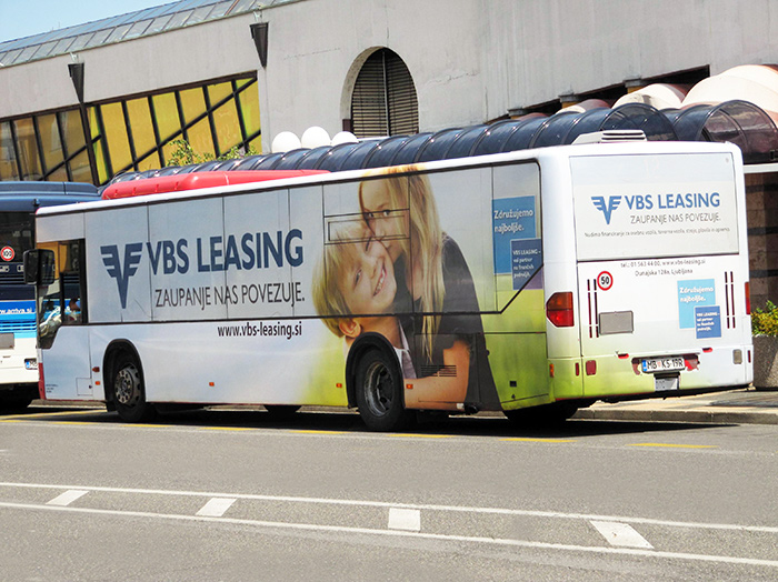 Advertising on buses in Slovenia | Sms Marketing d.o.o. | advertisement on a bus - entire bus - VBS Leasing