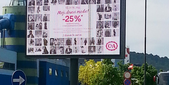 Oglaševanje na zunanjih oglasnih površinah | Sms Marketing d.o.o. | Oglas na digitalnem zaslonu - C&A