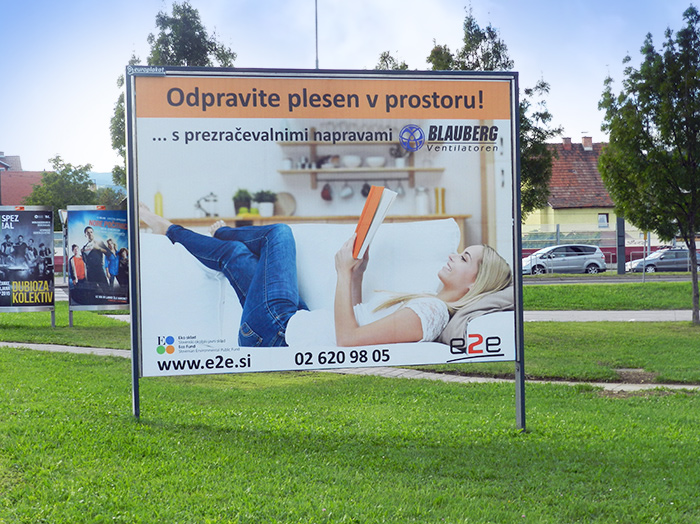 Advertising on outdoor advertising surfaces in Slovenia | Sms Marketing d.o.o. | Advertisement on a billboard - e2e