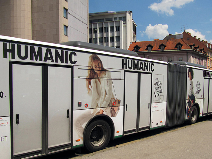Advertising on buses in Slovenia | Sms Marketing d.o.o. | advertisement on a bus - entire bus - Humanic