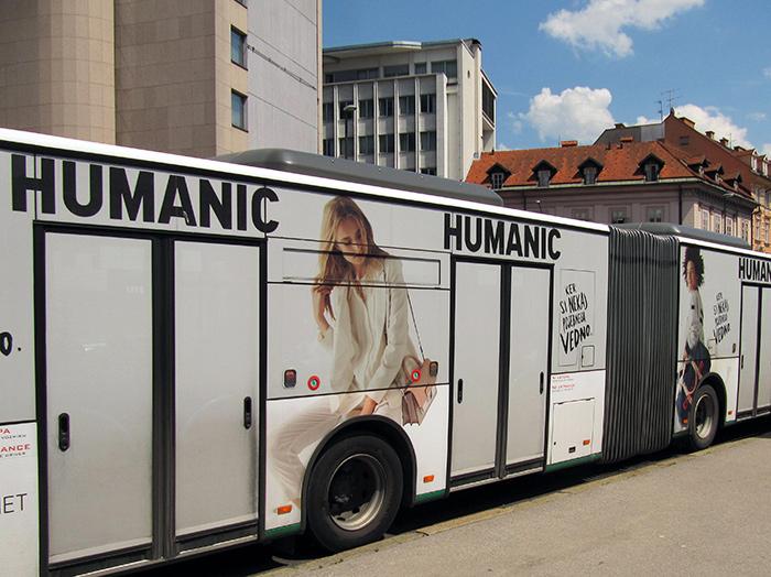 Oglaševanje na avtobusih | Sms Marketing d.o.o. | Oglas na avtobusu - celi avtobus - Humanic