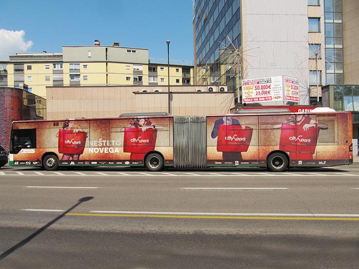 Oglaševanje na avtobusih | Sms Marketing d.o.o. | Oglas na avtobusu - celi avtobus - Citypark